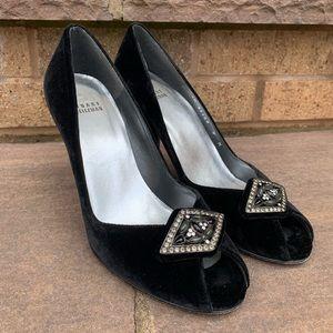 Stuart Weitzman Velvet Jeweled Pumps Heels